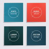 Abstract Vinyl Records Music Album Covers Set. Halftone Lines Backgrounds. Dynamic Creative Vinyl Mu poster
