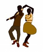 Swing Jazz Party Time. Dancing Couples Isolated On White In Cartoon Style. People In 40s Or 50s Styl poster