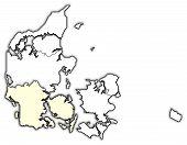 Map Of Danmark, South Denmark Highlighted poster