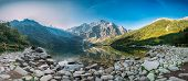Tatra National Park, Poland. Panorama Famous Mountains Lake Morskie Oko Or Sea Eye Lake In Summer Mo poster