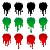 Set Of Colorful Dripping Circle Paint. Paint Drip Stickers Or Circle Labels. Drippings Sauces Curren poster