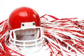 stock photo of pom poms  - Red football helmet and pom poms isolated on white background - JPG