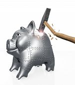 Armored Piggy Bank Resists To A Hit Of A Hammer