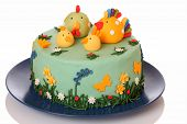 stock photo of sugar paste  - Sugar birthday cake with chicken biddy and poult - JPG