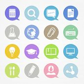 Education web icons set in color speech clouds
