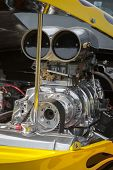 foto of dragster  - blower supercharger inside a powerful dragster engine bay - JPG