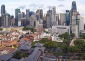 Singapore Central Business District Over Chinatown Area