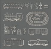 image of railroad-sign  - Vector set of various elements of railroad  - JPG