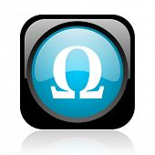 omega black and blue square web glossy icon