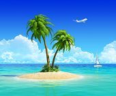 Clean sand beach on tropical island with palm tree, also with yacht and airplane on background. Conc
