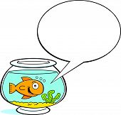 Cartoon goldfish with a caption balloon