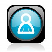 account black and blue square web glossy icon