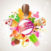 Bright background with different kinds of ice cream