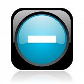 minus black and blue square web glossy icon