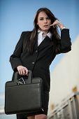 Pretty Fashionable Brunette Caucasian Business Woman Outdoor