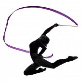 one caucasian woman exercising Rhythmic Gymnastics with ribbon  in silhouette studio isolated on whi