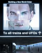 picture of illuminati  - Fantastical concept photo depticting an ominous train station with glowing poster reading  - JPG