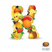Vector Alphabet From Fruit. For Letter K Fruit is Kiwi.