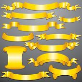 Golden Ribbons, Banners Isolated on Background, Vector Graphic Design