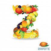 Vector Alphabet From Fruit. For Letter Z Fruit is .