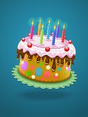 birthday cake with chocolate creme and burning candles - eps10 vector illustration.