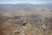 Aerial of Lancaster in California's mojave desert.