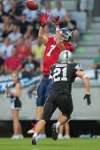 INNSBRUCK, AUSTRIA - JUNE 16 WR Steve Valentino (#7 Broncos) catches the ball on June 16, 2012 in In