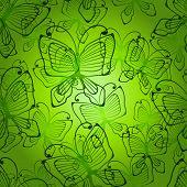 Green butterflys seamless patten.