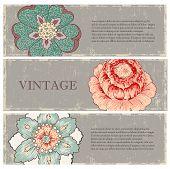 Vintage flowers banners set