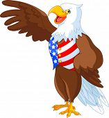 stock photo of bald head  - Patriotic American bald eagle presenting - JPG