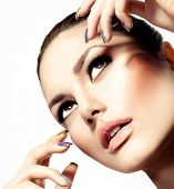 Fashion Beauty Model. Vogue Style Glamour Woman. Manicure and Make-up. Nail Art. Beautiful Girl With