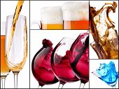 stock photo of cosmopolitan  - collage with alcohol cocktails  - JPG