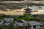High Dynamic Range image of a dramatic sunset over a To-Ji pagoda in Kyoto, Japan