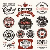stock photo of latte  - Collection of vintage retro coffee badges and labels - JPG