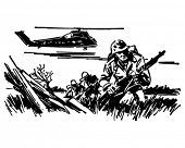 Soldiers In Battle - Retro Clip Art Illustration