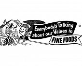 Everybody's Talking Fine Foods - Retro Clip Art Ad Banner