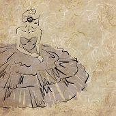 art sketching beautiful sitting melancholic young  bride