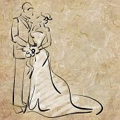art sketching beautiful young  bride and groom with the bride's bouquet