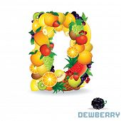 Alphabet From Fruit. For Letter D Fruit is Dewberry.
