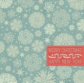 Retro Christmas Background With Snowflakes And Label For Text,  Vector