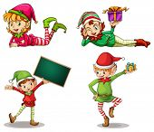 image of dwarf  - Illustration of the dwarves wearing hats for Christmas and an empty signboard on a white background - JPG