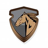 foto of bronco  - vector cartoon horse head - JPG
