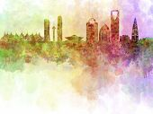 Riyadh Skyline In Watercolour Background