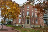 WASHINGTON DC - NOV 12: The Octagon House Museum is located at New York Avenue, Northwest in the Foggy Bottom neighborhood of Washington, D.C on November 12, 2013. It is a National Historic Landmark.