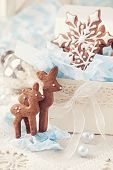 Gingerbread reindeer cookies and christmas decoration