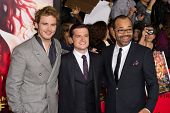 LOS ANGELES, CA - NOVEMBER 18: Actors Sam Claflin, Josh Hucherson and Jeffery Wright attend the prem