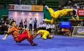KUALA LUMPUR - NOV 05: South Korea's dalian team performs a fight scene in the Men's Dual Event at t
