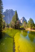 Yosemite Merced River and Half Dome in California National Parks US
