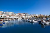 Ciutadella Menorca marina Port boats view in Balearic Islands