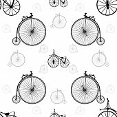 Vintage bicycle seamless background